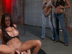 Fans and friends of Angelina Valentine watch her ride that cock