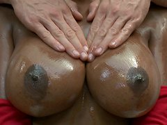 Big tits of Codi Bryant look fantastic when oiled and greased generously