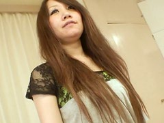 Shy and decent babe Rie Noguchi strips on a cam and masturbates fingering her cunt