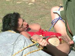 Geologist catchs Asian slut, ties her up and mouth fucks her