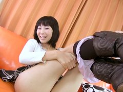 Nasty Japanese teen Saya Kirishima has fun with her pussy