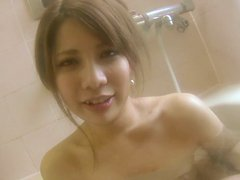 Asian petite teen Rina Wakui takes bath before enjoying adult pleasures