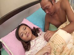 Dark haired Japanese babe Minako Uchida gets her pussy poked from behind