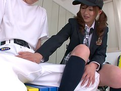 Japanese student Miku Airi pampers baseball player's cock