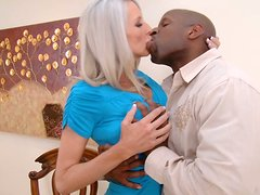 Blonde slut Emma Starr sucks big black cock