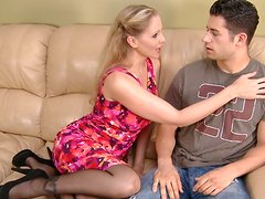 Blonde cougar Julia Ann feels horny for handsome young guy