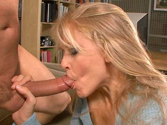 Blondie with big boobs get fucked on small couch