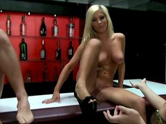 Party girls get nasty with the stripper on the bar stand
