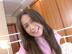 Hot teenie in pink underwear deepthroats cock and rides it on top