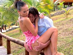 Lusty young bitch Sonia Carter is fucking hard outdoor