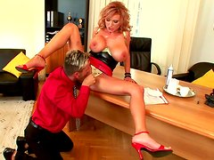 Sexy secretary Sharon Pink is getting dick in her mouth