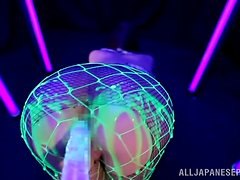 Beautiful Japanese Ria Horisaki Gets Toyed and Oiled Under Black Light