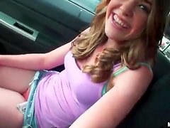 Super cutie masturbating in parked car