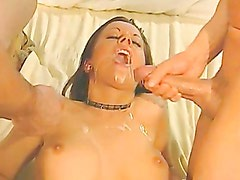 Jewel Denyle Gets A Double Warm Jizz On Her Mouth After A Double Penetartion