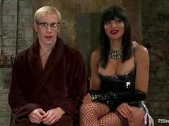 Ned Mayhem get fucked by hot tranny Yasmin Lee in BDSM clip