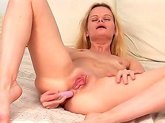 Small boobed freaky blonde Ann Marie gets a steamy