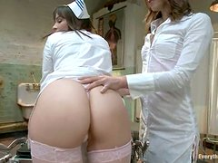 Amazing babes in nurse uniform in great anal sex video