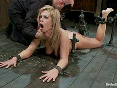 Gagged Tara Lynn Foxx lies on the floor and gets choked