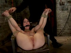 Brunette Serena Blair Tied Up and Ready for Toying in BDSM Vid