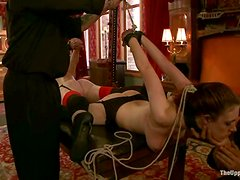 Two sexy girls in stockings get whipped and tortured