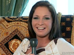 Interview with a Beautiful Brunette Chick with Shaved Pussy