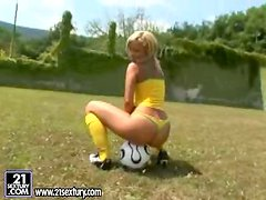 Instead of football training this blonde uses her dildo