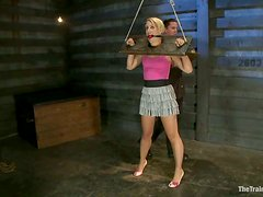 Dylan Ryan gets her vag toyed ardently in BDSM scene