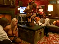Busty Blonde and Submissive Friend Dominated and Fucked by Big Black Cock