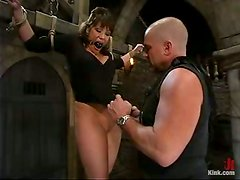 Busty milf gets crossed and waxed on her boobs