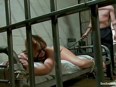 Stunning Kryssy Lynn gets toyed and fucked by a jailer