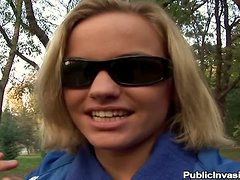 Britney the blonde babe gets fucked in a park