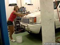 Blonde Sandra gets her wet pussy fucked in a garage