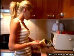 Wonderful blond star Sophie Moone is lovely housewife