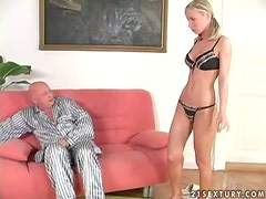 Slender Helena Sweet gets fucked and jizzed on her belly