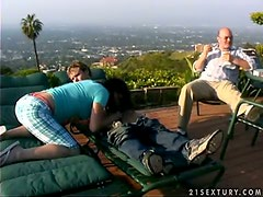 Missy Monroe gets fucked on the roof on the eyes of another guy