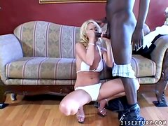 Smoking hot blondie Kelly Wells loves black men only