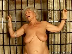Dungeon sex with a filthy granny that loves cumshots