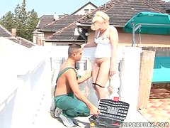 Blonde grannie Pattie gets her cunt fingered and fucked hard