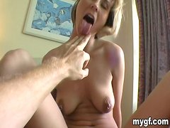 Brown-haired chick gets her pussy fingered and fucked