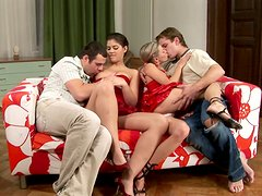 Francesca and Mia take their red dresses and get fucked