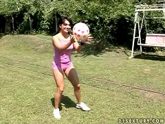 Playful Lea Lexxis gets fucked in her ass in a backyard