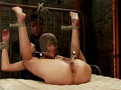 Extreme Bondage and Toying Action in BDSM Vid with Brunette Heather Vahn