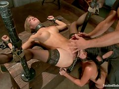 Blonde and brunette in stockings get tied up and fucked