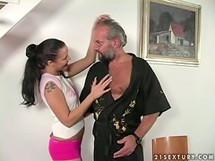 Beautiful Adrienne has wild sex with an old fart