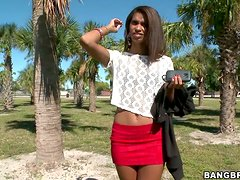 Cute Dominicana Staci Ellis sucks a prick and takes it in her black pussy