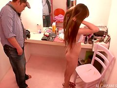 Ayaka Tomoda has to play with a cock in her dressing room