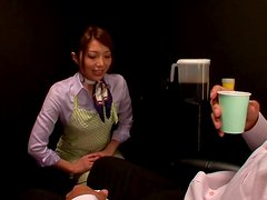 Yuuna Takizawa the hot stewardess gives perfect blowjob