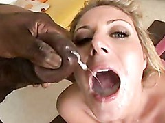 Cum thirsting whore Velicity Von enjoys a hot spray of jizz filling her mouth