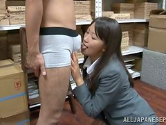 Slutty Kozue Hirayama plays with a cock in a warehouse