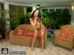 Afrodithe shows off her nice pussy and pounds it with a dildo
